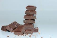 Partes de uma barra de chocolate escura Foto de Stock Royalty Free