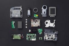 Partes de una mini cámara de vídeo de DV Imágenes de archivo libres de regalías