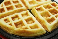 4 partes de waffles belgas Fotografia de Stock Royalty Free