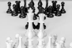 Partes de xadrez alinhadas estrategicamente Foto de Stock