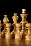 Partes de xadrez de madeira Fotografia de Stock