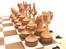Partes de xadrez de madeira Fotos de Stock Royalty Free
