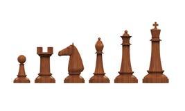 Partes de xadrez de madeira ilustração do vetor