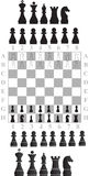 Partes de xadrez e tabuleiro de xadrez foto de stock