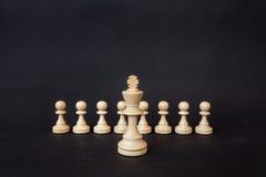 Partes de xadrez em um fundo preto O rei branco está no fundo dos penhores Fotos de Stock
