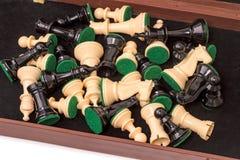 Partes de xadrez em uma caixa Fotografia de Stock Royalty Free
