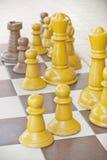 Partes de xadrez em uma tabela fotos de stock royalty free