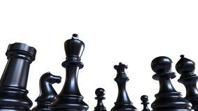 Partes de xadrez, figuras pretas do jogo, isoladas no fundo branco Foto de Stock Royalty Free