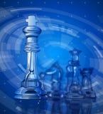 Partes de xadrez & fundo azul da tecnologia ilustração do vetor