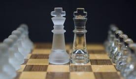 Partes de xadrez geladas do cavaleiro em um fundo preto foto de stock