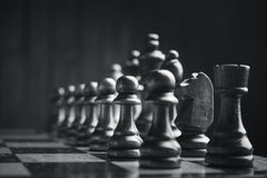 Partes de xadrez na placa Fotos de Stock