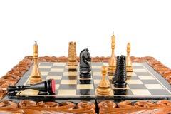 Partes de xadrez na placa Imagens de Stock