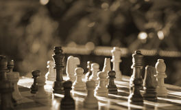 Partes de xadrez na placa de madeira Imagens de Stock