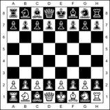 Partes de xadrez no tabuleiro de xadrez Imagens de Stock Royalty Free