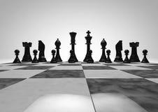 Partes de xadrez pretas Fotos de Stock Royalty Free