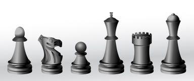 Partes de xadrez - preto Imagens de Stock Royalty Free