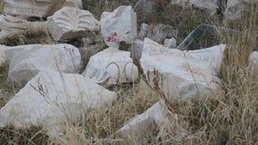 Partes del detalle de mármol del friso a partir del período de Grecia antigua metrajes