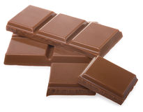 Partes do chocolate fotografia de stock