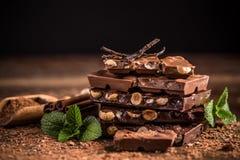 Partes do chocolate Foto de Stock Royalty Free