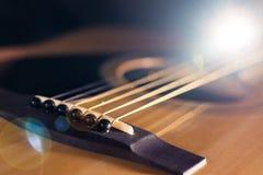 Partes do close-up da guitarra acústica Imagem de Stock