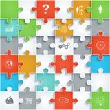 Partes dos enigmas de papel com ícones Fotos de Stock Royalty Free