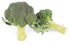 Partes do Wo de brócolos no fundo branco foto de stock royalty free