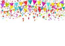 Partes minúsculas de queda coloridas dos confetes e flâmulas coloridas Vect Fotos de Stock