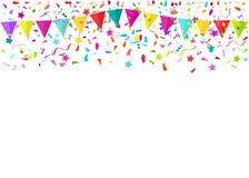Partes minúsculas de queda coloridas dos confetes e flâmulas coloridas Vect Fotografia de Stock Royalty Free