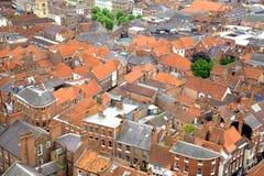 Partes superiores do telhado em York, Reino Unido Fotos de Stock