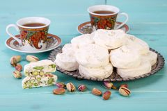 Partes tradicionais do iraniano e do persa da sobremesa branca s do nougat Foto de Stock