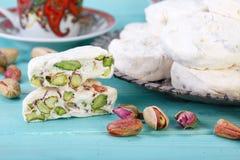 Partes tradicionais do iraniano e do persa da sobremesa branca s do nougat fotografia de stock