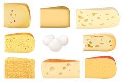 Partes triangulares de tipo diferente do grupo do queijo ilustração stock