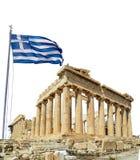 Parthenon Αθήνα greeece και ελληνικός κυματισμός σημαιών στοκ φωτογραφίες