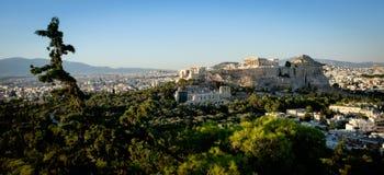 Parthenon, ακρόπολη της Αθήνας, άποψη στο ηλιοβασίλεμα Στοκ Φωτογραφία