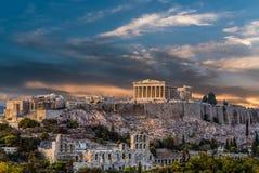 Parthenon, ακρόπολη της Αθήνας πριν από το ηλιοβασίλεμα Στοκ Εικόνες