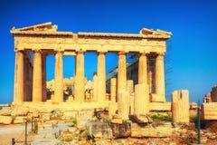 Parthenon στην ακρόπολη της Αθήνας στο ηλιοβασίλεμα Στοκ εικόνα με δικαίωμα ελεύθερης χρήσης