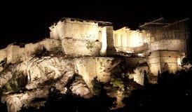 parthenon ночи акрополя стоковые фото