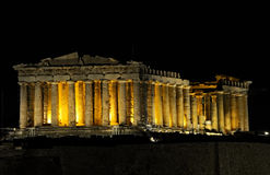 Parthenon. Night view of Parthenon in Athens, Greece Stock Image
