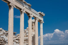 The Parthenon. Columns of the Parthenon agains the blue sky in Athens, Greece Stock Photo