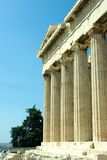 Parthenon. Front columns of the Parthenon, located at the Acropolis of Athens Stock Image