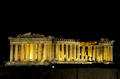 The Parthenon. The night view of Parthenon, Greece Royalty Free Stock Image