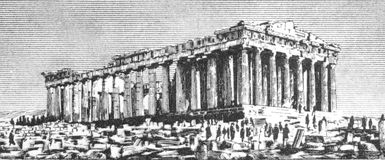 Parthenon. On 20 Drachmai 1940 banknote from Greece Stock Image