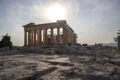 Parthenon on Acropolis, Athens, Greece. It is a main tourist attraction of Athens. Ancient Greek architecture of Athens in summer. Parthenon on Acrois, Athens royalty free stock photography