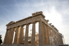 Parthenon on Acropolis, Athens, Greece. It is a main tourist attraction of Athens. Ancient Greek architecture of Athens in summer. Parthenon on Acrois, Athens stock images