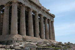 Famous Parthenon of Acropolis. Famous ancient architecture of Parthenon at the hill of Acropolis in Athens Greece Royalty Free Stock Images
