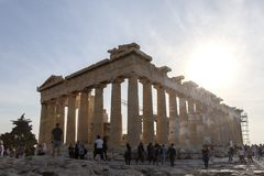Parthenon on Acropolis, Athens, Greece. It is a main tourist attraction of Athens. Ancient Greek architecture of Athens in summer. Ruins of a famous landmark royalty free stock images