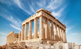 Parthenon on the Acropolis in Athens, Greece. Parthenon temple on a bright day. Acropolis in Athens, Greece, on a bright day royalty free stock photography