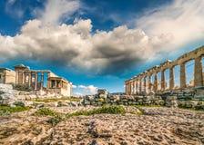 Parthenon Acropolis of Athens and Karyatides Erehtheio, Greece. Panoramic View Captured with Wide Angle Lens stock photo