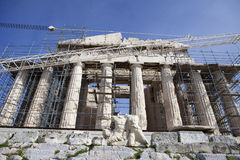 Parthenon. At Acropolis Athensclose up of restoration Stock Photography