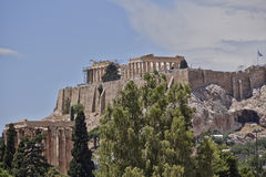 Parthenon on Acropolis and columns of the Olympian Zeus Royalty Free Stock Images
